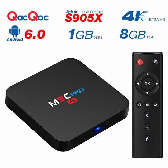 QacQoc M9C Pro 4K高清四核流媒体播放器/网络电视机顶盒 45.04加元限量特卖并包邮!