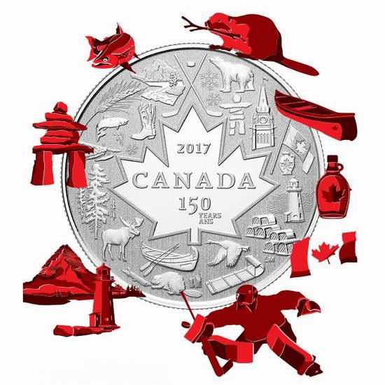 新品上市!2017加拿大国庆150周年《Heart of Our Nation》纯银纪念币 19.95加元销售并包邮!
