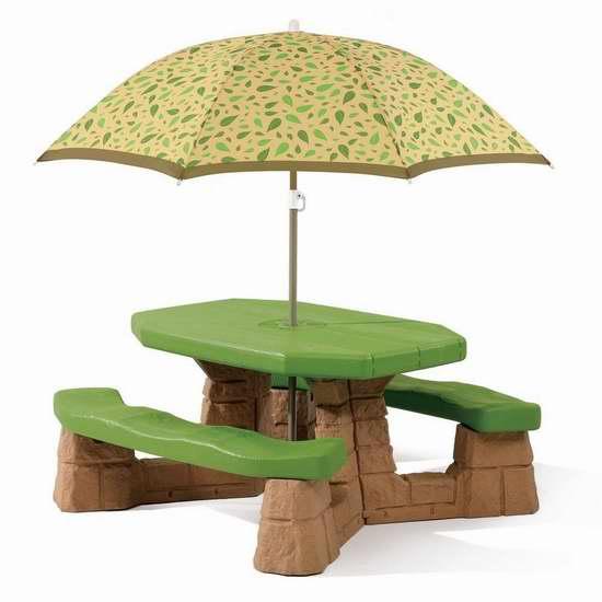 Step2 Naturally Playful 儿童庭院餐桌椅带伞套装 96.06加元限时特卖并包邮!