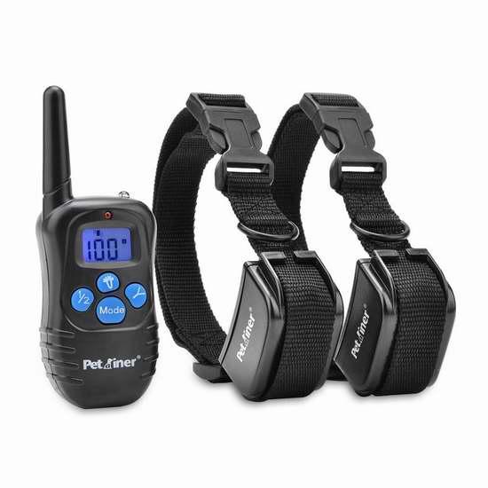Petrainer PET998DRB2 充电式遥控训狗器 双项圈套装 42.49加元限量特卖并包邮!