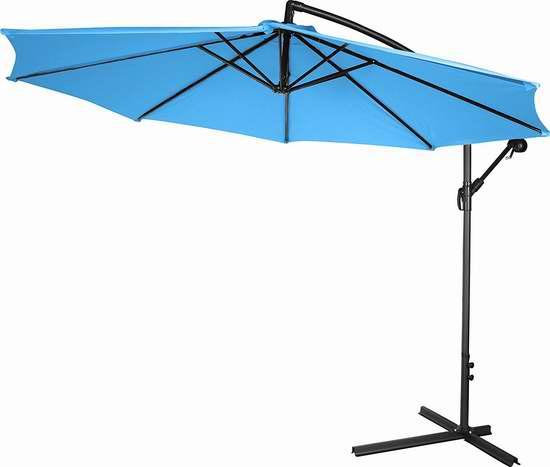 Trademark Innovations 10英尺豪华曲柄庭院遮阳伞 104加元限量特卖并包邮!