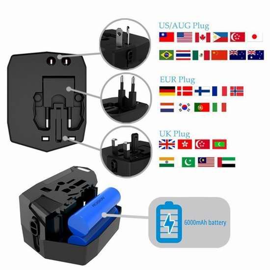KINDEN 全球通用电源插头转换器+6000mAh应急移动电源/充电宝+双USB充电口 29.74加元限量特卖并包邮!三色可选!