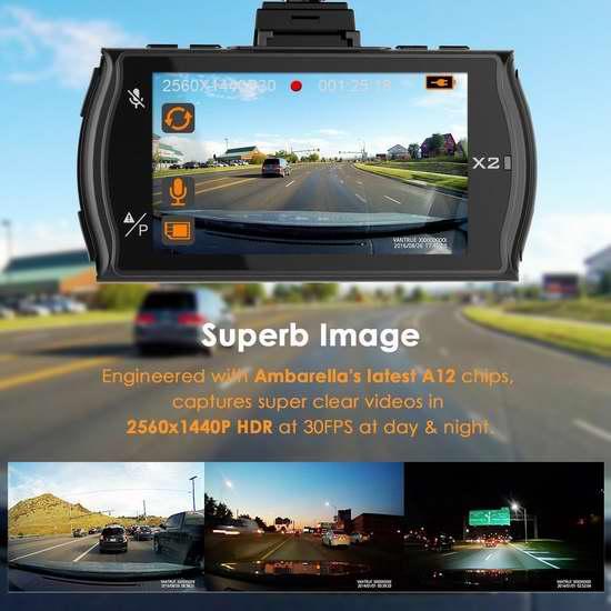 Vantrue X2 2.5K超高清广角超级夜视行车记录仪 175.99加元限量特卖并包邮!