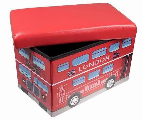 Clever Creations 高级红色伦敦双层巴士 儿童收纳凳 19.99加元限量特卖!