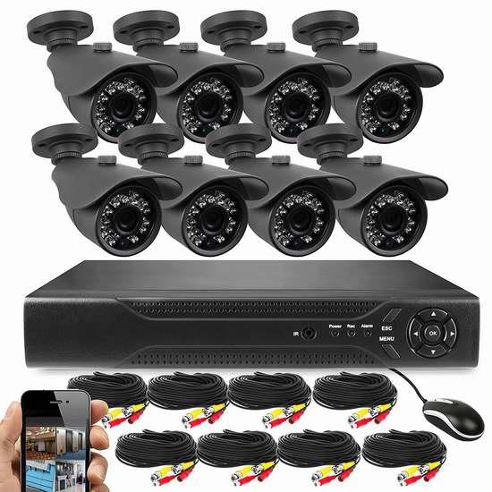 Best Vision 720P 16路 8摄像头高清监控系统+1TB硬盘套装3折 297.49加元限量特卖并包邮!