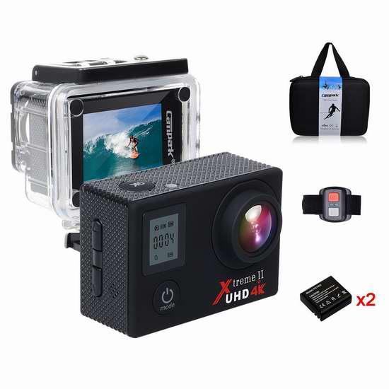 Campark ACT76 4K 超高清超广角WiFi无线运动摄像机+遥控套装 89.16加元限量特卖并包邮!
