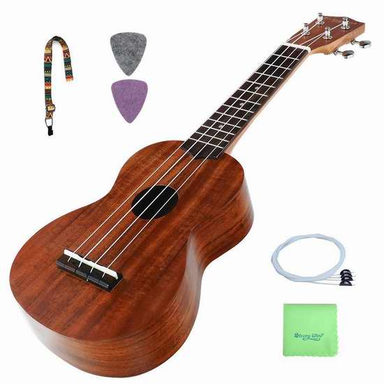 Strong Wind KOA Soprano 专业 Aquila 弦 Ukulele 夏威夷小吉他/尤克里里3.6折 67.14加元限量特卖并包邮!