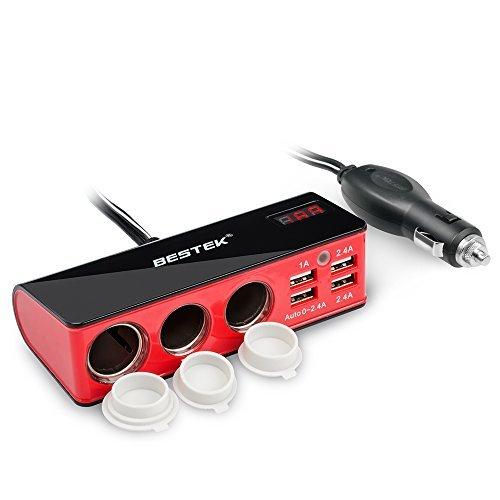 车上插座不够用?BESTEK 车载电源一分三转换插座 + 4 USB充电口 22.09加元限量特卖!