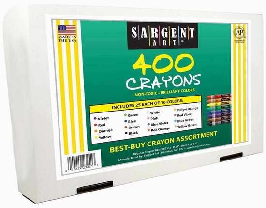 历史新低!Sargent Art 22-3221 蜡笔16色400支超值装2折 12.72加元限时清仓!