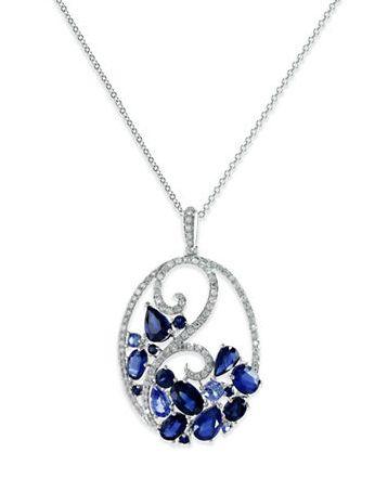 EFFY 14K白金蓝宝石+钻石吊坠项链 1478.57加元,原价 4970加元,包邮