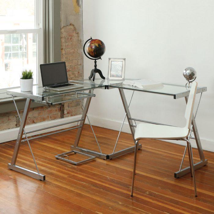 Broderick Contemporary Corner玻璃面电脑桌 149.99加元(2色),原价 399.99加元,包邮