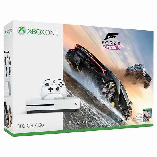 历史最低价!Xbox One S 500GB 家庭娱乐游戏机+《极限竞速 地平线3》套装 329.99加元限时特卖并包邮!