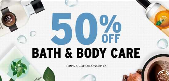 The Body Shop 美体小铺 精选136款沐浴及身体护理系列产品全部5折限时特卖,满40加元额外立减10加元!