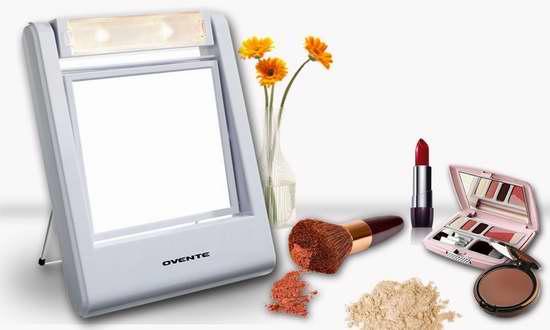 历史新低!Ovente MLT22W 5.5英寸便携式照明5倍放大双面化妆镜 19.14加元限时特卖!