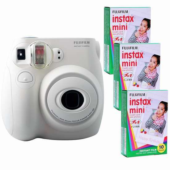 历史新低!Fujifilm 富士 Instax Mini 7S 拍立得+30张相纸超值装4.1折 47.88加元限时清仓并包邮!