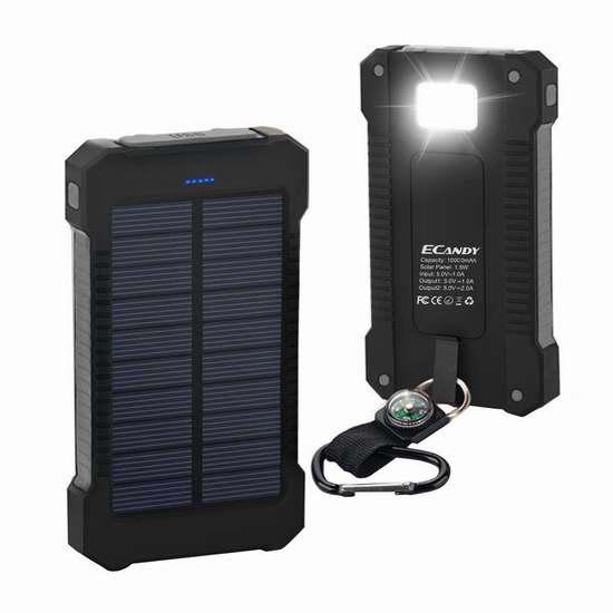 历史最低价!Ecandy 10000mAh 便携式防水太阳能移动电源/充电宝/手电筒 19.99加元限量特卖!