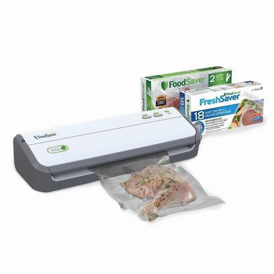 FoodSaver FM2000-33HB 真空密封食物保鲜机+密封袋超值套装 119.99加元限量特卖并包邮!