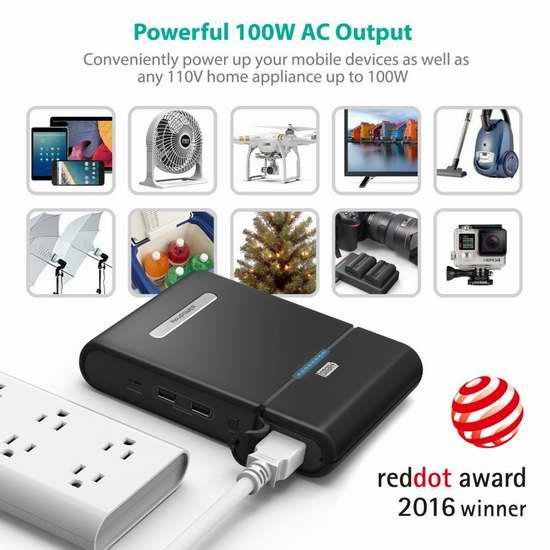 RAVPower 27000mAh 100W 直流/交流两用 便携式移动电源/充电宝 127.49加元限量特卖并包邮!
