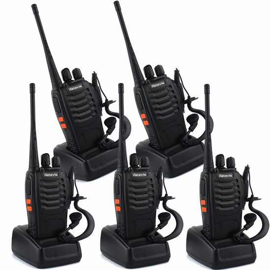 Retevis H-777 Walkie Talkie 5W UHF 400-470MHz 16信道无线专业双向对讲机/手台(内置手电,带耳机)5只装 107.94加元限量特卖并包邮!