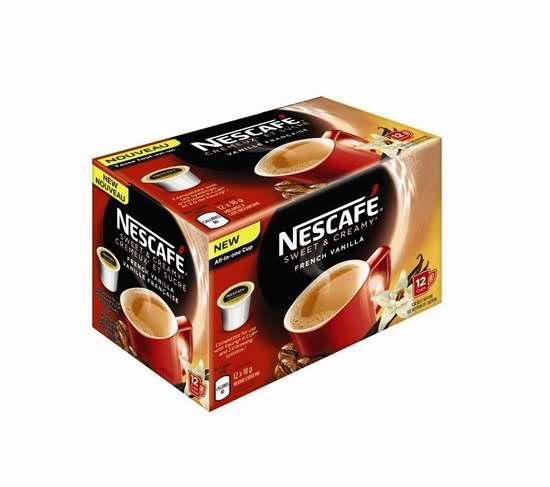 历史新低!Nescafé 雀巢 香甜奶油法式香草 K-Cup 咖啡胶囊(72杯装)3.7折 24.42加元限时清仓!