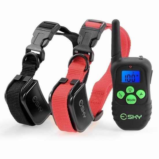 Esky Shock 充电式遥控训狗器 双项圈套装 28.88加元限量特卖并包邮!