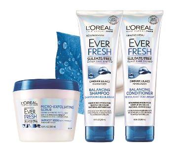 免费索取 L'Oreal 欧莱雅 Ever Fresh 洗发液/护发液/磨砂膏 试用品!