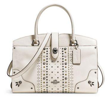COACH Mercer Bandana 白色柳钉手提包/单肩包3.9折 228.37加元限时特卖并包邮!