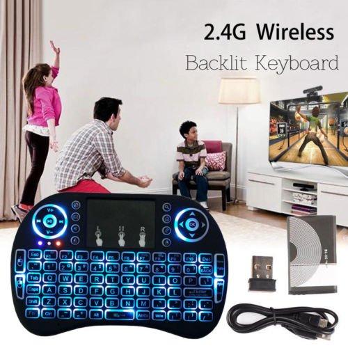 Ybee 2.4Ghz 触摸板无线多媒体 LED背光 迷你键盘 16.99加元限量特卖!