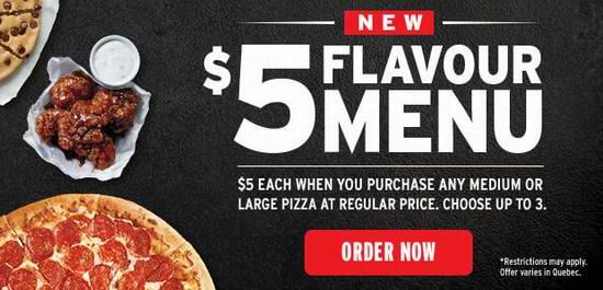 Pizza Hut 必胜客 正价购买大号或中号pizza,再买3个以内中号pizza每个仅需5加元!