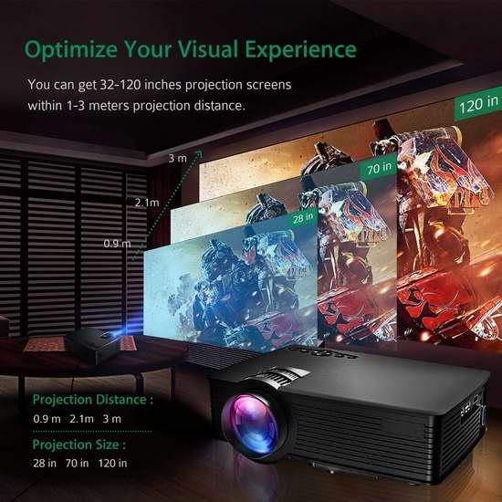 Patec 便携式1200流明家庭影院投影仪 98.59加元限量特卖并包邮!