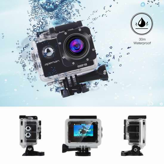 APEMAN 1080P 全高清超大广角运动摄像机/相机/行车记录仪+大量配件套装 55.24加元限量特卖并包邮!