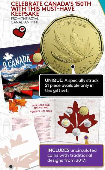 2017加拿大国庆150周年纪念币礼品装5件套 21.95加元销售并包邮!