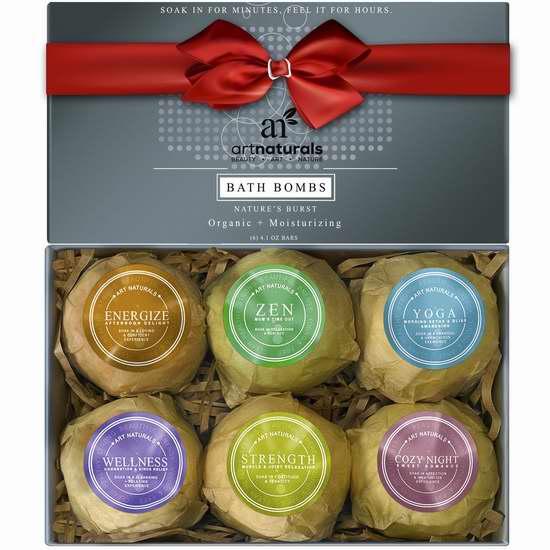 ArtNaturals Bath Bombs 手工水疗精油保湿气泡沐浴球礼盒装(4盎司 x 6) 23.75加元限量特卖!