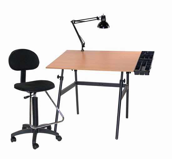 历史新低!Martin U-DS14041BW Berkeley 成长型可倾斜两用书桌/绘画桌椅台灯4件套2.3折 100.97加元限时清仓并包邮!