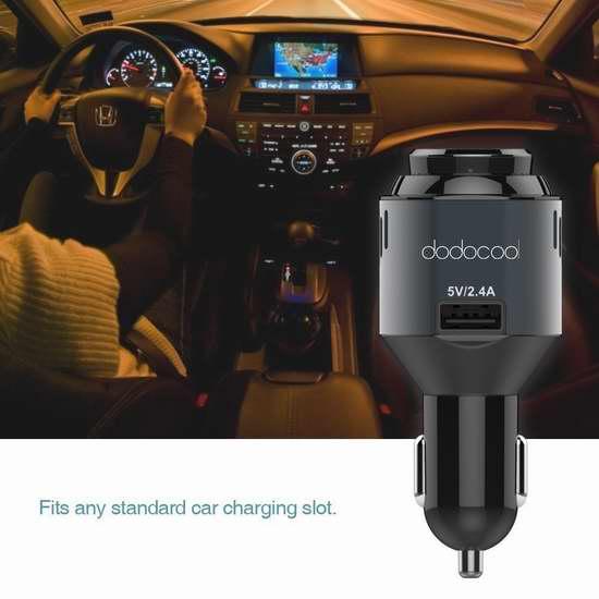 dodocool 3合1 多功能车充,带蓝牙耳机/车载氧吧 有效净化车内空气 27.99加元限时特卖并包邮!