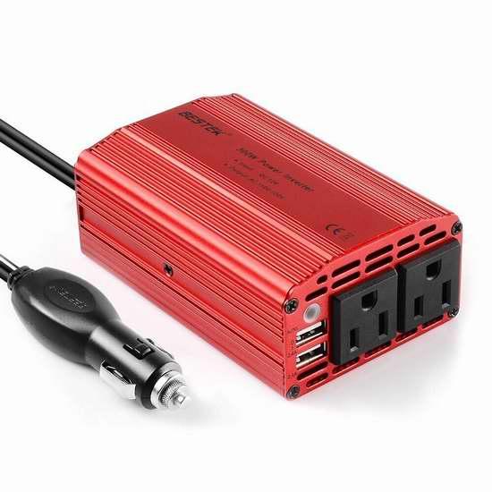BESTEK 300W 车载电源逆变器(2 USB充电口+2电源插座) 25.53加元限量特卖!两色可选!