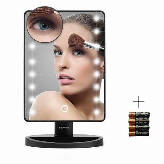 Showpin 智能触控LED照明10倍放大化妆镜 25.49加元限量特卖!