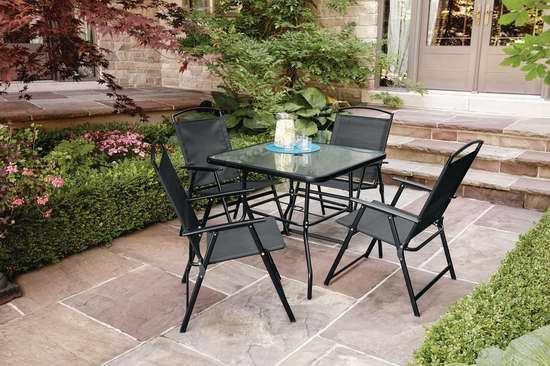 Mainstays Cranston 庭院折叠式餐桌椅5件套 98加元限时特卖并包邮!