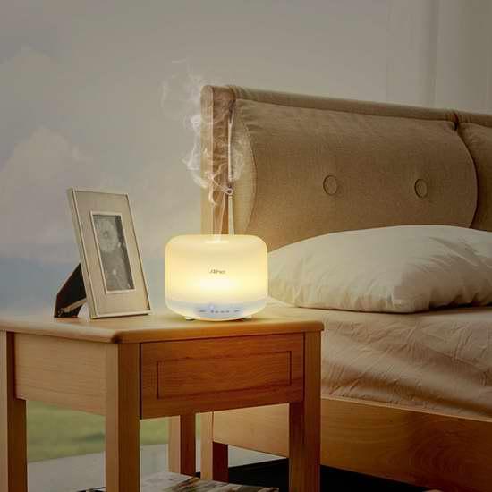 Aiho 150ml USB充电 无线精油香薰/加湿器,内置7彩液晶灯 25.49加元限量特卖并包邮!