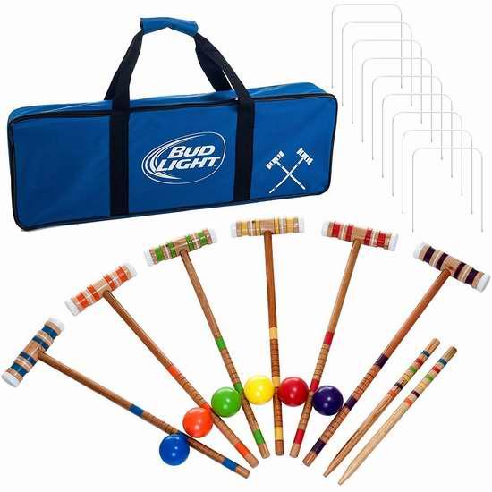 历史新低!Bud Light 槌球/门球 6人24件套游戏套装2.7折 36.01元限时清仓并包邮!