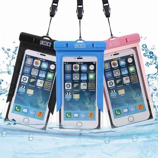 UKCOCO 通用透明手机防水保护袋3件套 9.88加元限量特卖!
