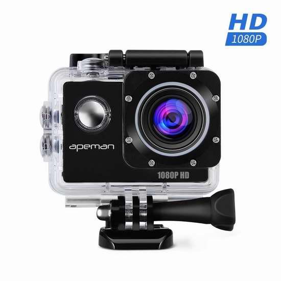 APEMAN 1080P 全高清超大广角运动摄像机 50.99加元限量特卖并包邮!