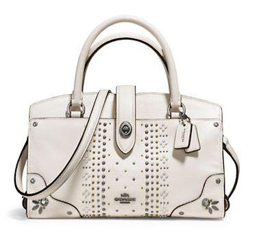COACH Mercer Bandana 白色柳钉手提包/单肩包3.4折 158.62加元限时特卖并包邮!