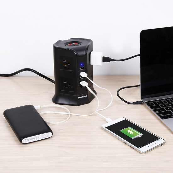 Safemore Smart 8 插座 + 4 USB智能充电 电涌保护插线座 28.89加元限量特卖!
