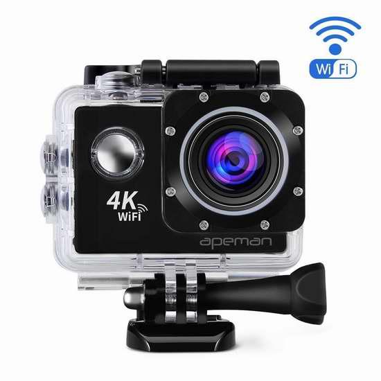 APEMAN 4K 超高清超大广角无线WiFi运动摄像机+双锂电池+支座附件套装 84.99加元限量特卖并包邮!