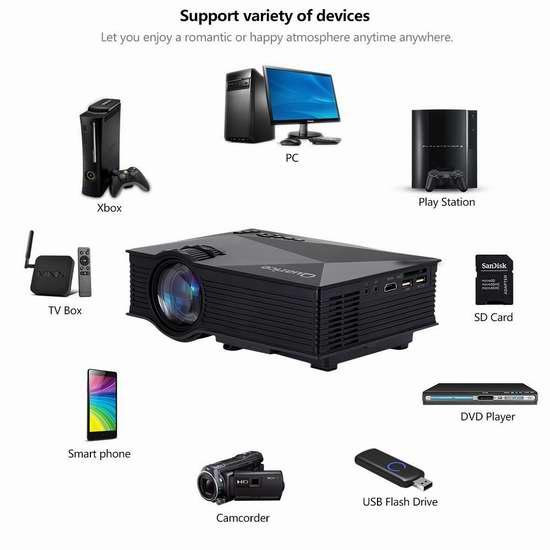 Diosn UC46 便携式1200流明家庭影院投影仪 84.95加元限量特卖并包邮!