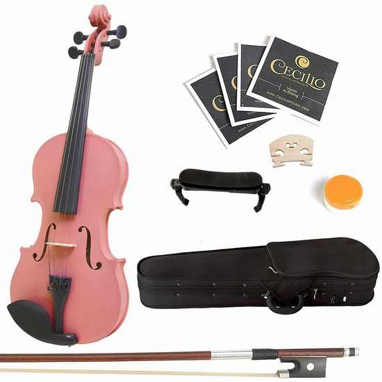 白菜价!历史新低!Mendini 3/4 MV-Pink 实木小提琴套装2.5折 36.35加元限时清仓并包邮!