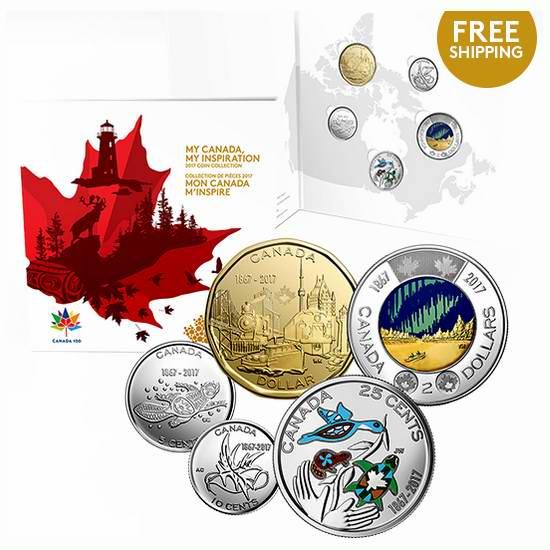 销量冠军!2017 My Canada, My Inspiration 我的加拿大,我的灵感 国庆150周年纪念币5件套 19.95加元包邮!