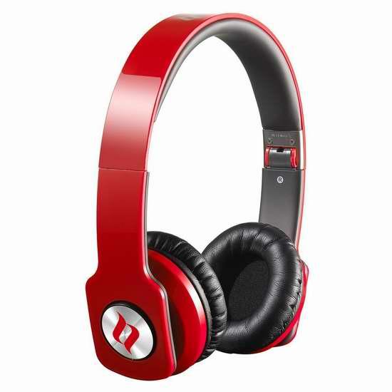 ERG ZOROHDRED Noontec ZORO HD 红色时尚头戴式耳机3.8折 39.99加元限量特卖并包邮!