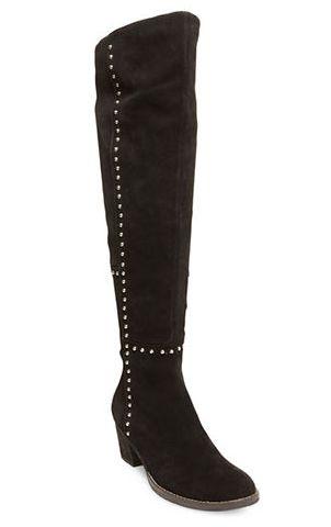 小个子也能尽显大长腿!DESIGN LAB LORD & TAYLOR 麂绒过膝柳钉靴 126.99加元(2色),原价 249加元,包邮